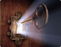 Key in lock with light copy